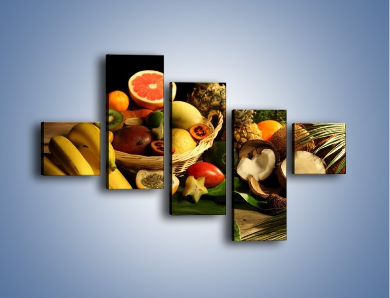 Obraz na płótnie – Kosz egzotycznych owoców – pięcioczęściowy JN074W3