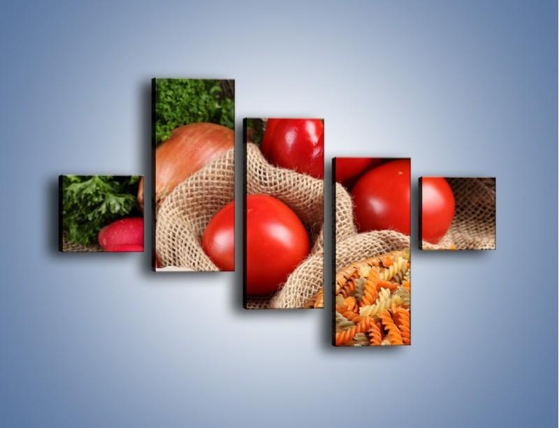Obraz na płótnie – Makaron z warzywami – pięcioczęściowy JN076W3