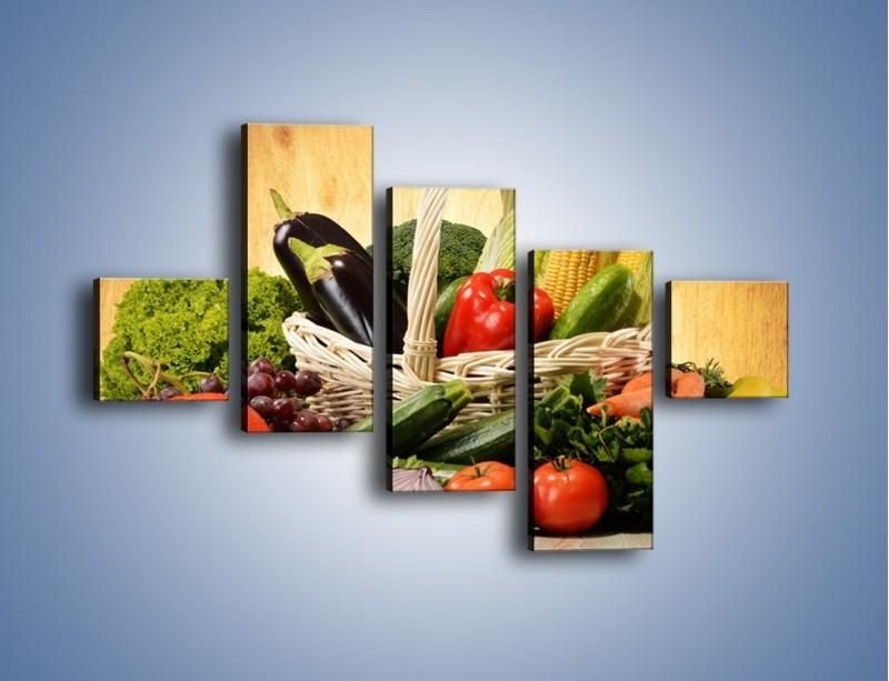 Obraz na płótnie – Kosz pełen warzywnych witamin – pięcioczęściowy JN081W3