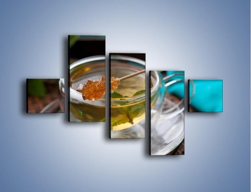 Obraz na płótnie – Oczyszczająca zielona herbata – pięcioczęściowy JN104W3