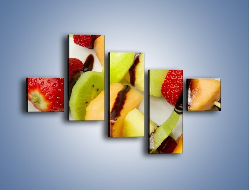 Obraz na płótnie – Czekoladowo-owocowe szaszłyki – pięcioczęściowy JN112W3