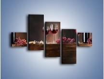 Obraz na płótnie – Beczuszki czerwonego wina – pięcioczęściowy JN142W3