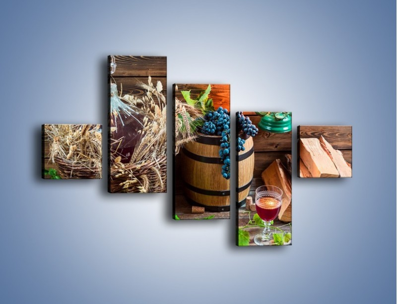 Obraz na płótnie – Wino według własnego przepisu – pięcioczęściowy JN202W3
