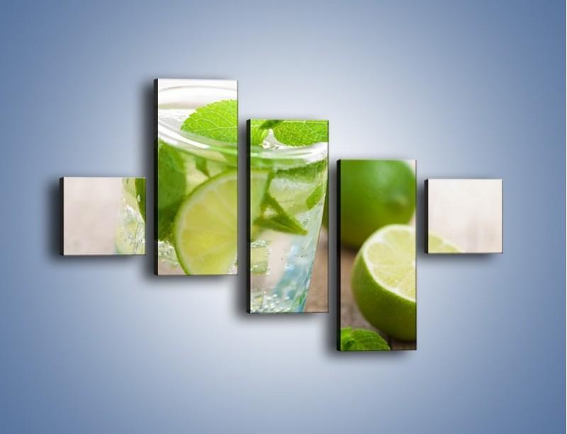 Obraz na płótnie – Limonkowy napój – pięcioczęściowy JN262W3