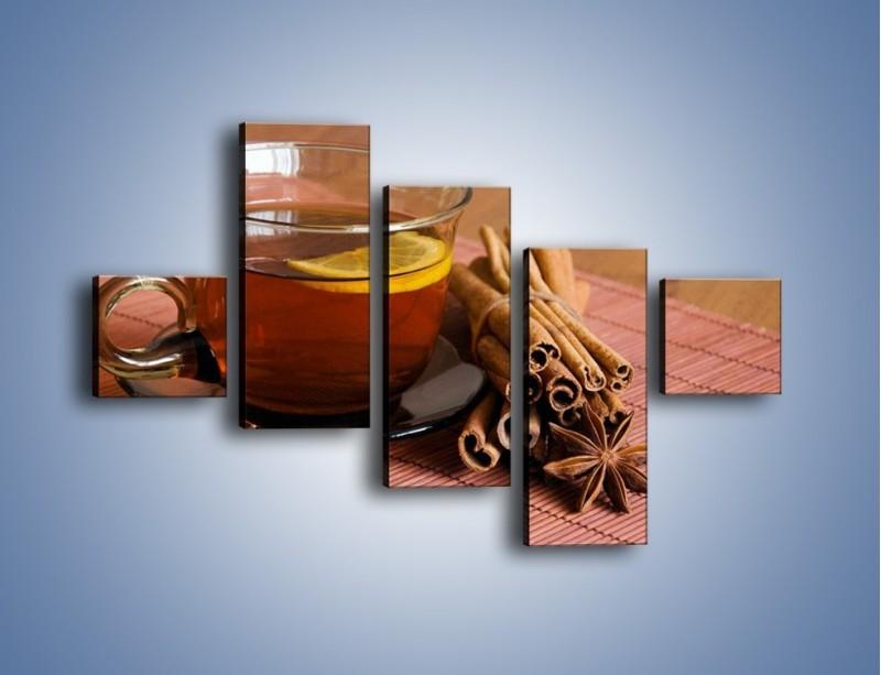 Obraz na płótnie – Rozgrzewająca filiżanka herbaty – pięcioczęściowy JN266W3