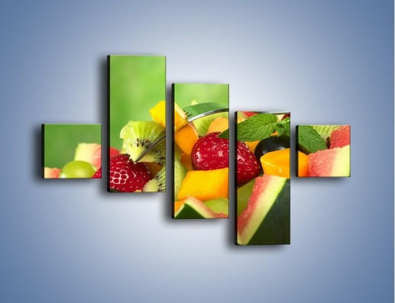Obraz na płótnie – Arbuzowa misa z owocami – pięcioczęściowy JN274W3