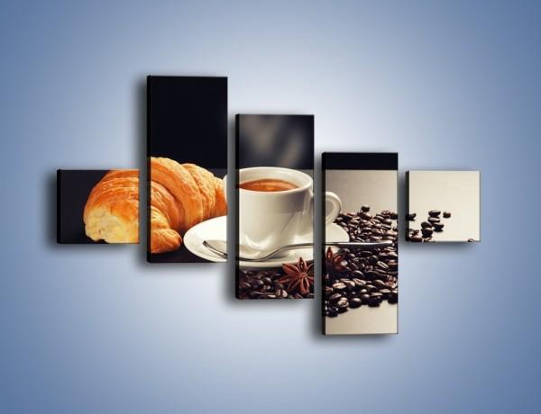 Obraz na płótnie – Rogalik z kawą – pięcioczęściowy JN278W3