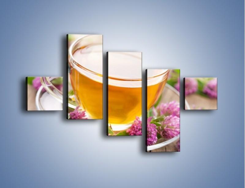Obraz na płótnie – Herbata z kwiatami – pięcioczęściowy JN283W3