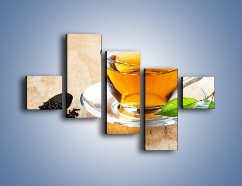 Obraz na płótnie – Listek mięty dla orzeźwienia herbaty – pięcioczęściowy JN290W3
