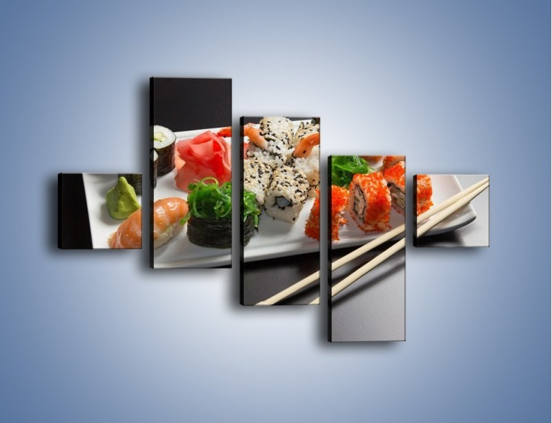 Obraz na płótnie – Kuchnia azjatycka na półmisku – pięcioczęściowy JN295W3