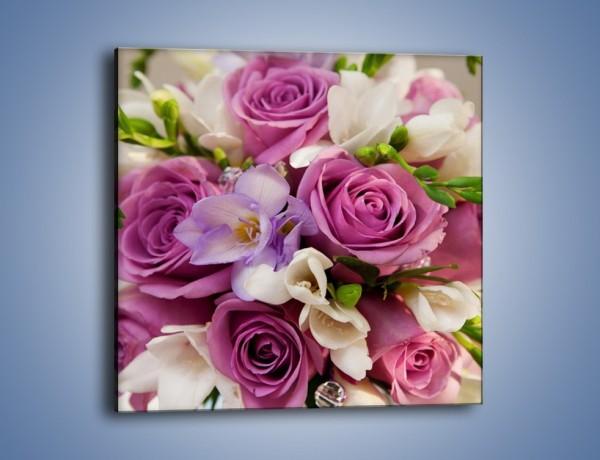 Obraz na płótnie – Piękna wiązanka z lila róż – jednoczęściowy kwadratowy K034