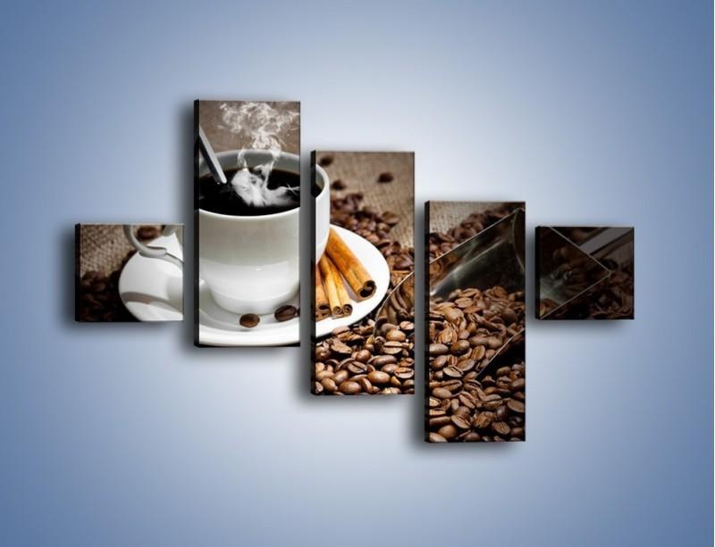 Obraz na płótnie – Czarna palona kawa – pięcioczęściowy JN311W3