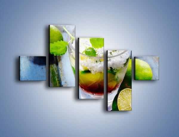 Obraz na płótnie – Limonkowy drink z miętą – pięcioczęściowy JN325W3