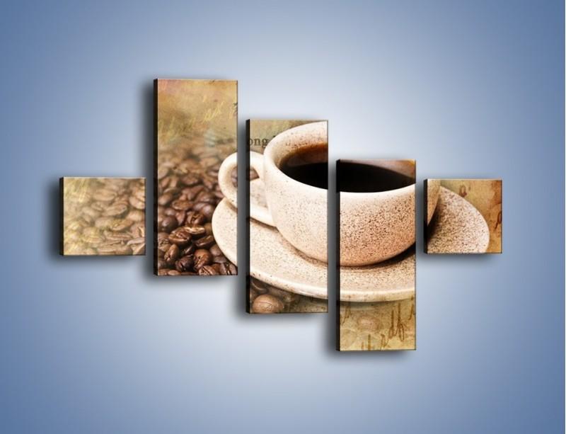 Obraz na płótnie – List przy filiżance kawy – pięcioczęściowy JN347W3