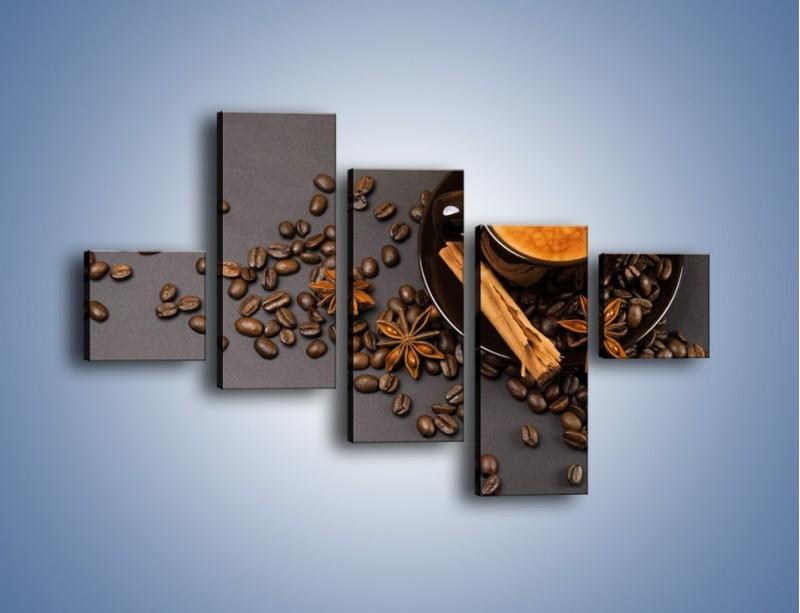 Obraz na płótnie – Kawa z goździkiem – pięcioczęściowy JN349W3