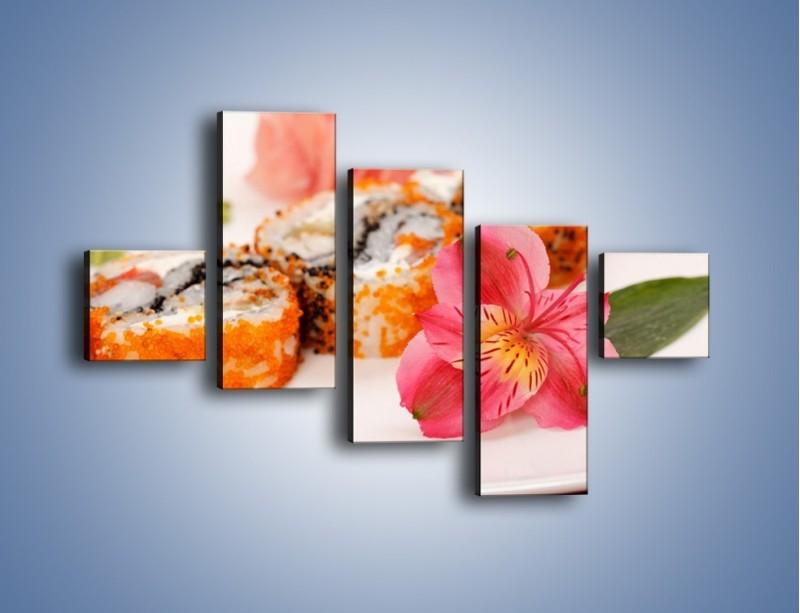 Obraz na płótnie – Sushi z kwiatem – pięcioczęściowy JN354W3