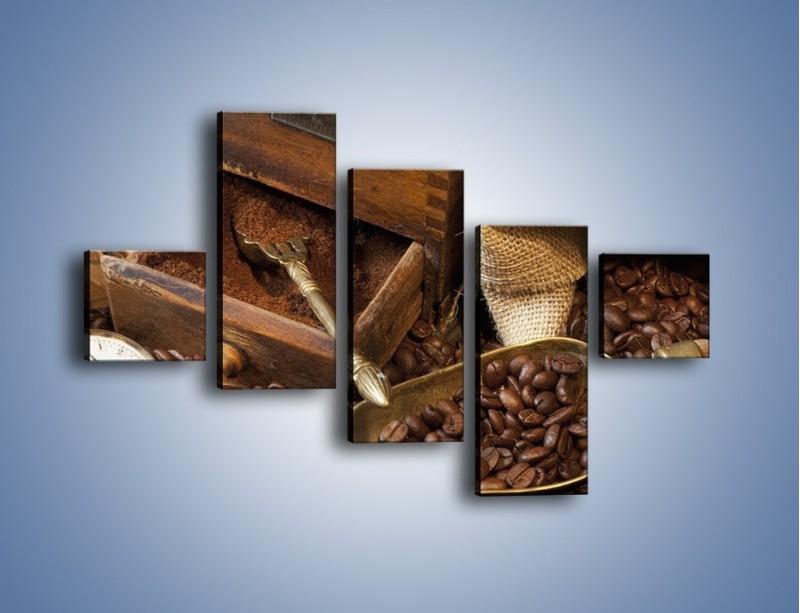 Obraz na płótnie – Szuflada pełna kawy – pięcioczęściowy JN356W3