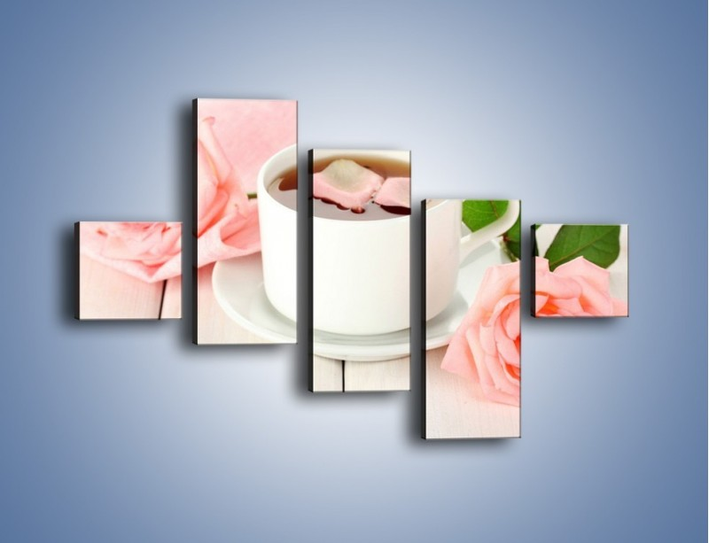 Obraz na płótnie – Herbata wśród róż – pięcioczęściowy JN369W3