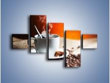 Obraz na płótnie – Aromatyczny zapach kawy – pięcioczęściowy JN374W3