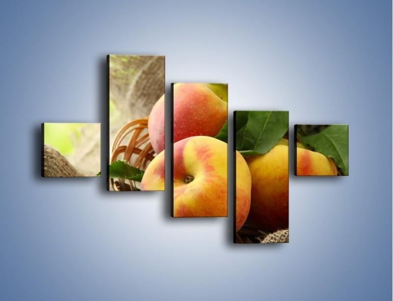Obraz na płótnie – Dojrzałe jabłka w koszu – pięcioczęściowy JN390W3