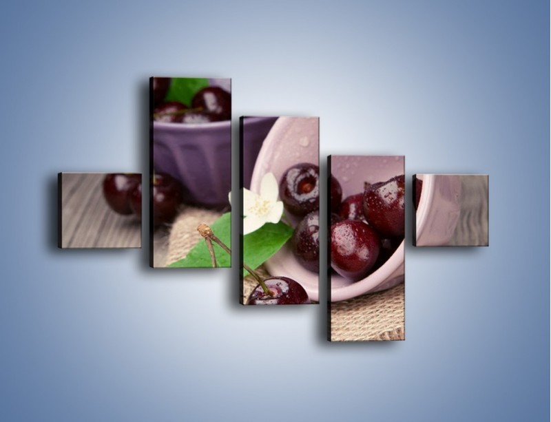 Obraz na płótnie – Wiśnie w małych pucharkach – pięcioczęściowy JN399W3