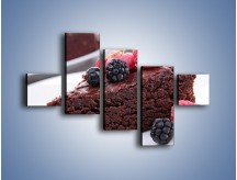 Obraz na płótnie – Czekoladowe brownie z owocami – pięcioczęściowy JN408W3