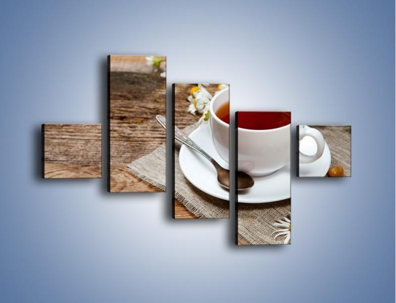 Obraz na płótnie – Herbata wśród stokrotek – pięcioczęściowy JN413W3