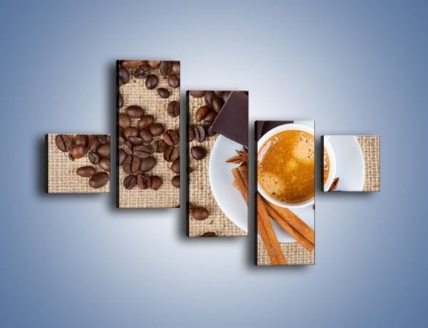 Obraz na płótnie – Kawa i czekolada – pięcioczęściowy JN420W3