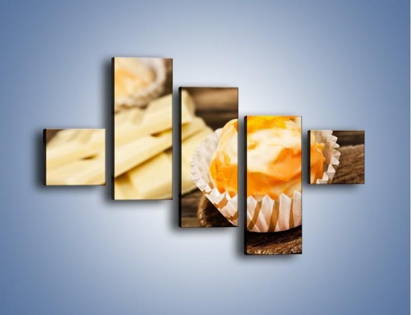 Obraz na płótnie – Babeczka z białej czekolady – pięcioczęściowy JN428W3
