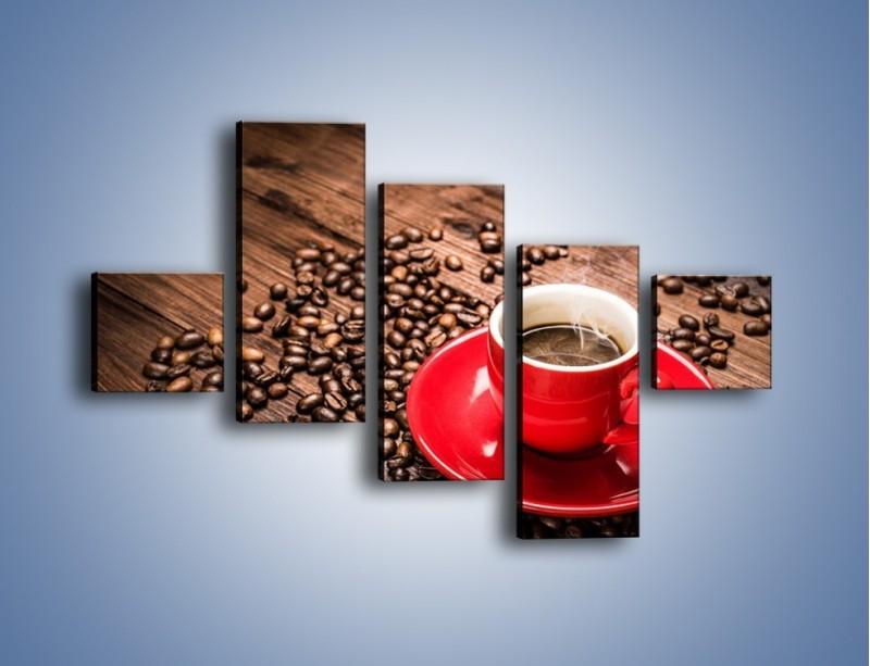 Obraz na płótnie – Kawa w czerwonej filiżance – pięcioczęściowy JN441W3