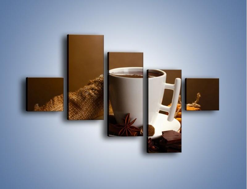 Obraz na płótnie – Gorąca czekolada z dodatkami – pięcioczęściowy JN452W3