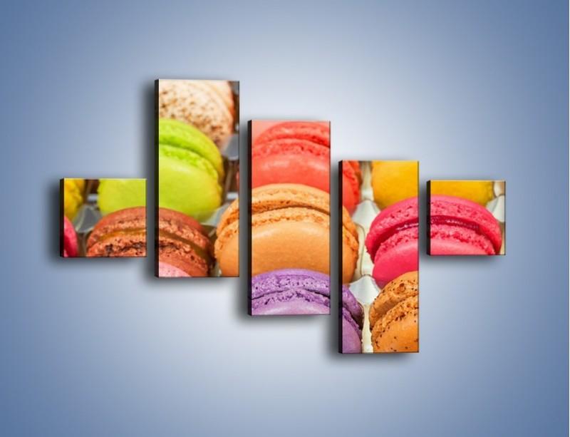Obraz na płótnie – Słodkie babeczki w kolorach tęczy – pięcioczęściowy JN458W3