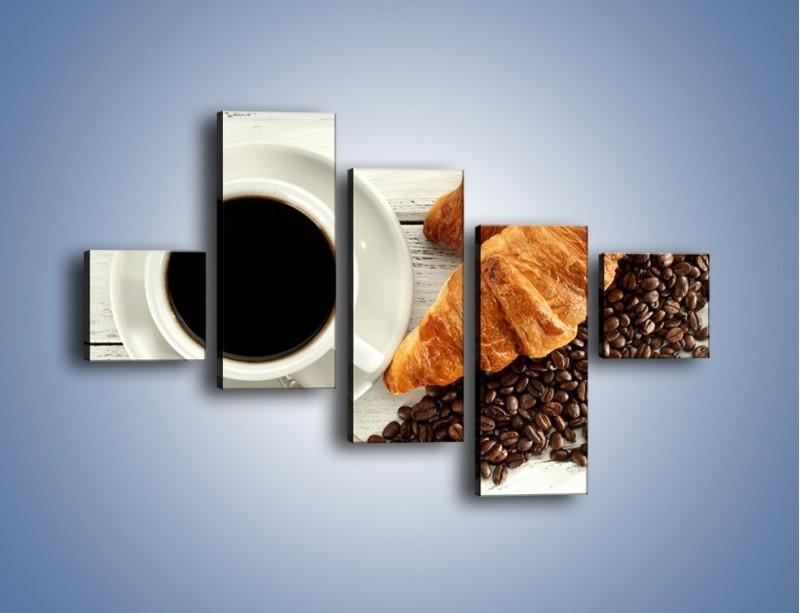Obraz na płótnie – Kawa na białym stole – pięcioczęściowy JN462W3