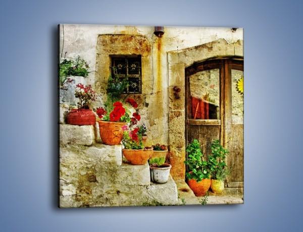 Obraz na płótnie – Kwiaty w doniczce przed starym domem – jednoczęściowy kwadratowy AM196
