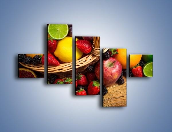 Obraz na płótnie – Kosz zatopiony w owocach – pięcioczęściowy JN635W3