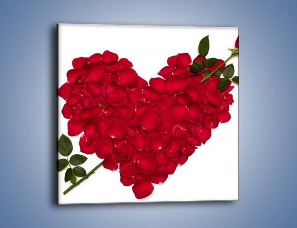 Obraz na płótnie – Różane serce dla ukochanej – jednoczęściowy kwadratowy K042