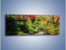 Obraz na płótnie – Alejka między kolorowymi drzewami – jednoczęściowy panoramiczny KN1113