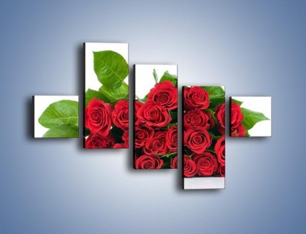 Obraz na płótnie – Idealna wiązanka czerwonych róż – pięcioczęściowy K018W3