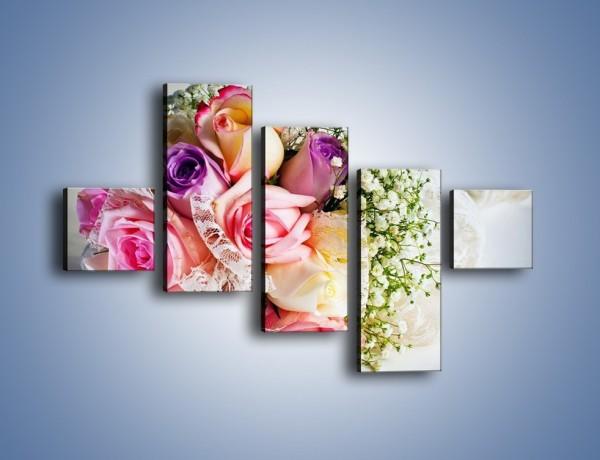 Obraz na płótnie – Wiązanka ślubna z róż – pięcioczęściowy K022W3