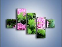 Obraz na płótnie – Bukiet róż wypełniony trawką – pięcioczęściowy K068W3
