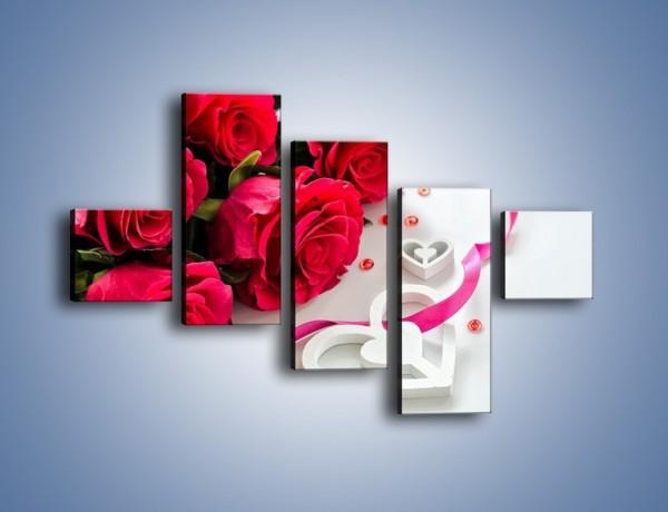 Obraz na płótnie – Róża z miłosnym przekazem – pięcioczęściowy K1011W3