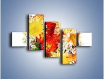 Obraz na płótnie – Bukiecik kwiatów z ogródka – pięcioczęściowy K118W3
