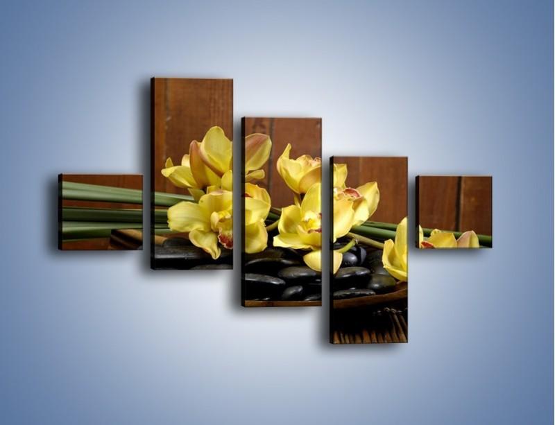 Obraz na płótnie – Kwiaty na drewnianym naczyniu – pięcioczęściowy K575W3
