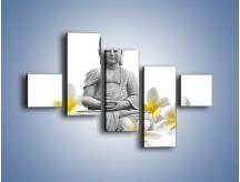 Obraz na płótnie – Budda w białych kwiatach – pięcioczęściowy K599W3