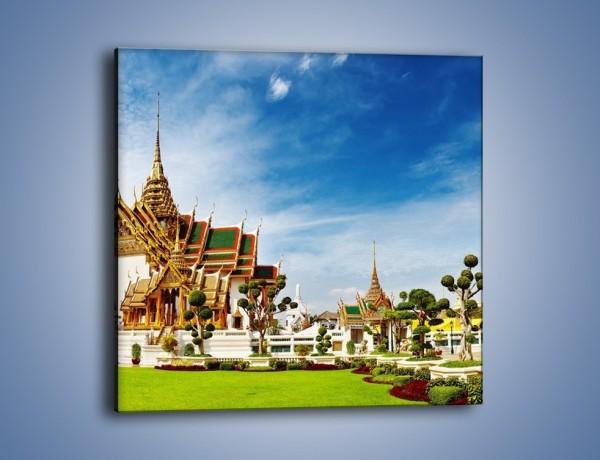 Obraz na płótnie – Tajska architektura pod błękitnym niebem – jednoczęściowy kwadratowy AM197
