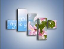 Obraz na płótnie – Mydlane bańki nad kwiatami – pięcioczęściowy K669W3