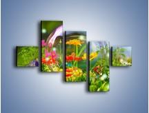 Obraz na płótnie – Bańkowy świat kwiatów – pięcioczęściowy K691W3