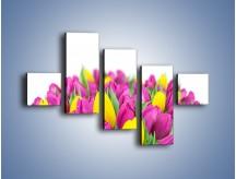 Obraz na płótnie – Bukiet fioletowo-żółtych tulipanów – pięcioczęściowy K778W3