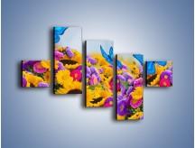 Obraz na płótnie – Bajka o kwiatach i motylach – pięcioczęściowy K794W3