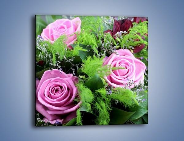 Obraz na płótnie – Bukiet róż wypełniony trawką – jednoczęściowy kwadratowy K068